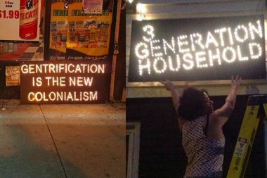 Twenty-one signs in businesses and homes across Bushwick decry the rapid-fire gentrification of the neighborhood.