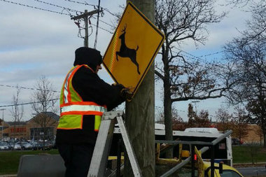 The city finished installing 21 deer crossing signs around Staten Island, the first of the signs installed by the city on streets.