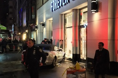 The driver struck five pedestrians after driving the wrong way on 34th Street, authorities said.
