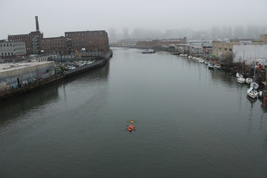 Environmental activist Christopher Swain swam Newtown Creek in Dec. 2015 and said it was the most polluted waterway he had ever been in.