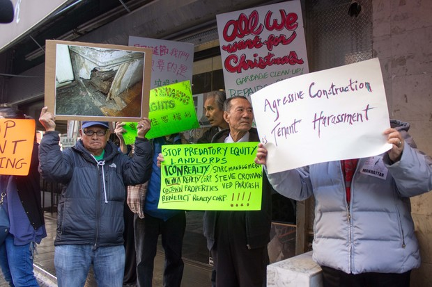 The 90 Elizabeth Street Tenant Association railed against their landlord to bring attention to hazardous living conditions brought on by neglect and what they claim are unsafe construction practices in vacant units.