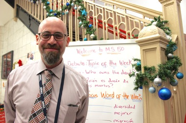 New principal at J.H.S. 50 John D. Wells is working to bring student' and teachers' passions into everyday curriculum to reinvigorate the troubled school.