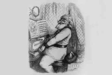 An 1889 illustration of Santa Claus playing the piano, by the political cartoonist Thomas Nast.