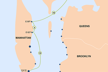 The Soundview ferry line picks up at East 90th and East 62nd streets on the Upper East Side.