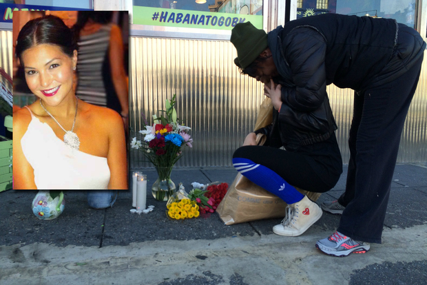 Mourners grieve at a small memorial for Victoria Nicodemus who was fatally struck in Fort Greene Sunday.