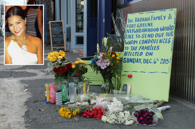 A memorial for Victoria Nicodemus grows outside of Habana Outpost in Fort Greene.