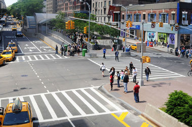 The whole corridor along West 96th Street is problematic in terms of the frequency of crashes at each intersection. The DOT redesigned the West 96th Street and Broadway intersection, pictured here, but it remained a hot spot for crashes in the first nine months of 2015.