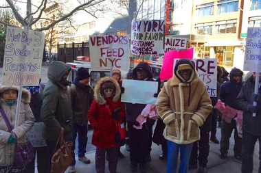 Street vendors gathered outside of the 1st Precinct in Manhattan to protest unfair regulations and the need for more permits.