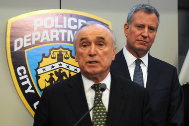 Mayor Bill de Blasio and NYPD Commissioner Bill Bratton discuss the 2015 crime numbers during a press conference at police headquarters Monday, Jan. 4, 2015.
