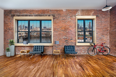 An image of an office space in the gut-renovated project at 456 Johnson Ave., which is targeting firms with workers in Brooklyn areas like Williambsurg, Bushwick and East Williamsburg — who would have too much trouble getting to work if the L train tunnel shuts down between Manhattan and Brooklyn.