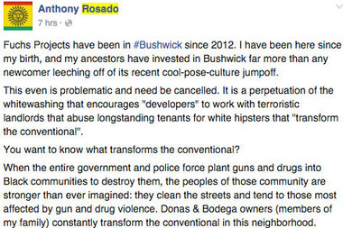 Dozens of commenters criticized the Bushwick 200 event as being insensitive to locals.