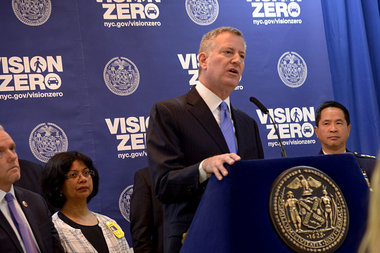 Mayor Bill de Blasio hoped to curb traffic injuries and deaths with his citywide Vision Zero initiative.