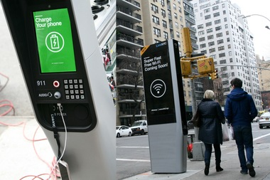 The 10-foot tall LinkNYC kiosks provide free high-speed Wi-Fi.