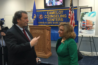 Luke Nasta, executive director of Camelot, and Arlene González-Sánchez, NYS OASAS commissioner, at the announcement of the expansion to Camelot in Port Richmond, which Community Board 1 voted in opposition of at their full board meeting on Tuesday, March 8, 2016.