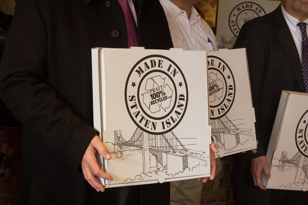 The boxes, made at Staten Island's Pratt Industries, are to promote recycling in the borough.