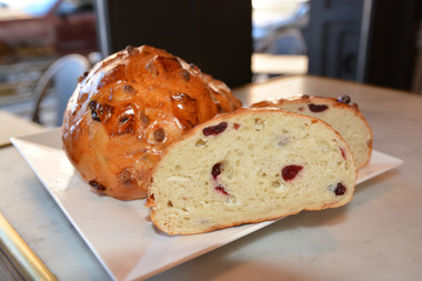Maison Kayser opened its first Brooklyn location at 57 Court Street Wednesday. Pictured above, January's seasonal bread, the white chocolate and cranberry viennoise.
