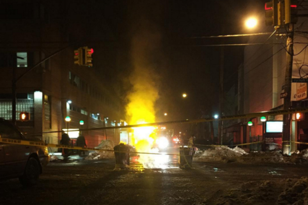 A fire flared out of a manhole on Wyckoff Avenue in Bushwick Monday night.