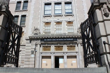 The P-TECH High School in the former Paul Robeson High School building on Albany Avenue in Crown Heights has had zero dropouts over four years, according to DOE graduation rates released Monday.