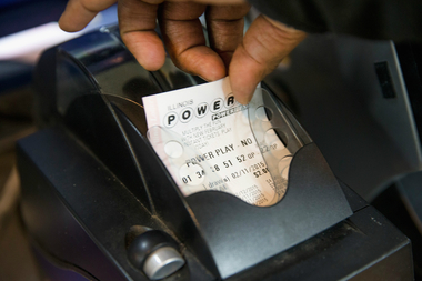 A Powerball ticket is printed earlier this month.