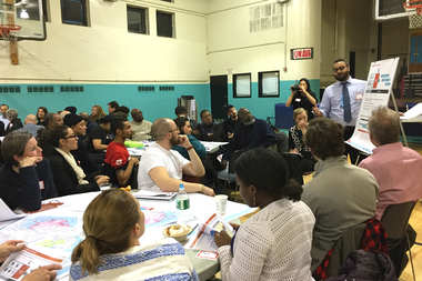 More than a hundred community members attended a public meeting Thursday night in Red Hook to discuss a planned flood protection system for the neighborhood.