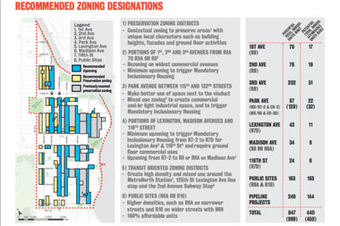 This map outlines specific parts of the community recommended for upzoning. The rezoning is estimated to add 440 affordable housing units each year, according to the Steering Committee.