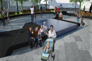 Officials hope to beautify the Roberto Clemente Plaza construction site with photographs of the South Bronx.
