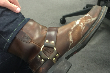 A DNAinfo editor shows off one salty shoe.