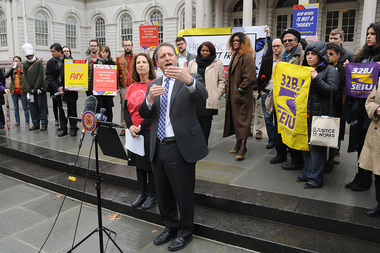 Councilman Brad Lander speaks to freelance supporters before a hearing on an anti wage-theft bill in February 2016. The Park Slope politician will host an online talk on Tuesday Nov. 15 about preparing for a Donald Trump presidency.