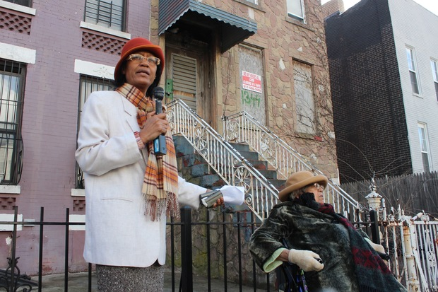 Hollie Osborn, left, and her mother, Ethel Osborn, right, made a down payment 13 years ago to a nonprofit developer responsible for renovating the house behind them, 1344 St. Marks Ave. in Crown Heights, as part of a city-run affordable housing program. They have yet to be able to move into the home, they said.