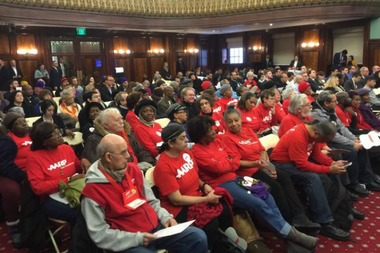AARP members turned out in droves to support the mayor's rezoning plan at a City Council hearing.
