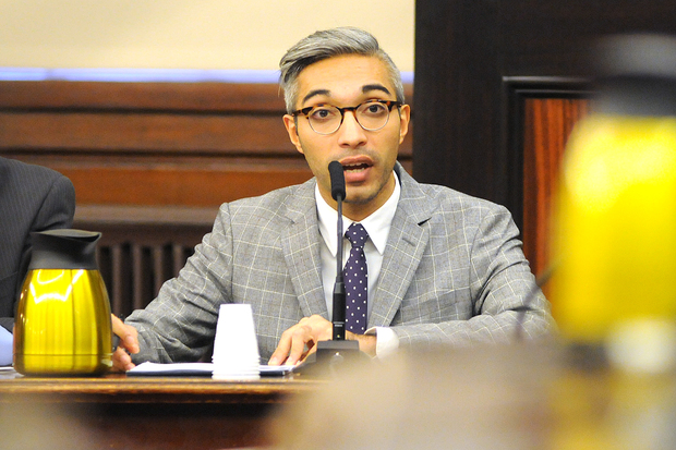 Department of Consumer Affairs Deputy Commissioner Amit Bagga testified at City Hall Monday about a proposed freelancer wage-theft bill, Feb. 29, 2016.