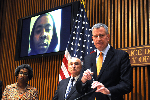Mayor Bill de Blasio and Police Commissioner Bill Bratton displayed an image of accused Staten Island homeless shelter stabber Michael Sykes during a press conference at One Police Plaza Wednesday, Feb. 10, 2016.