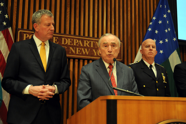 Mayor Bill de Blasio and Police Commissioner Bill Bratton speak about monthly crime numbers during a press conference at NYPD headquarters Wednesday, Feb. 3, 2016.