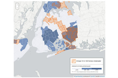 The Center for New York City Neighborhoods released an interactive map shows the prevalence of on underwater mortgages among majority black neighborhoods.