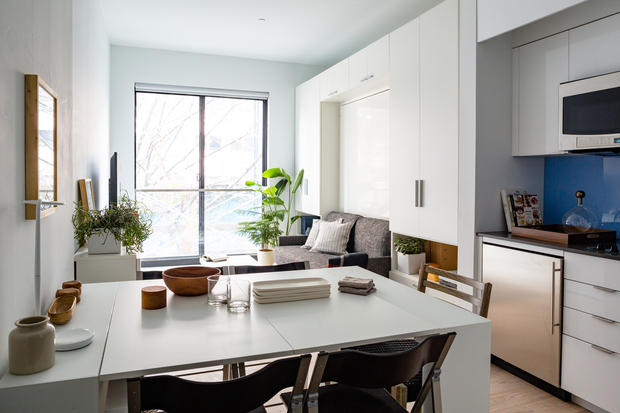 Images of micro-units at Carmel Place in Kips Bay.