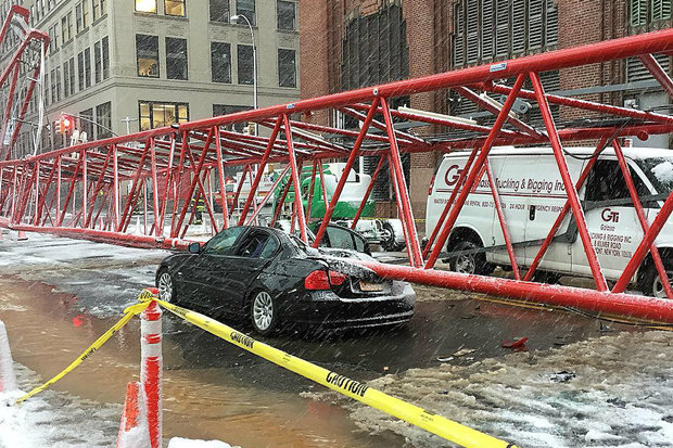 A crane collapsed at 40 Worth St. Friday morning, officials said.