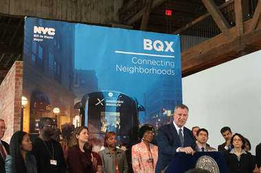 Mayor Bill de Blasio discusses the BQX at a press conference in Red Hook in February 2016.