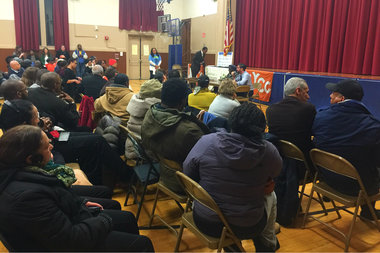 Council members Inez Barron and Rafael Espinal address community members' concerns at a town hall on the East New York rezoning on Feb. 18.