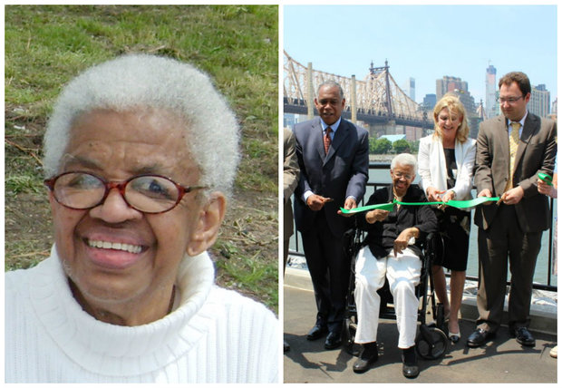 Left: Elizabeth McQueen. Right: McQueen, center, and officials cut the ribbon on the new seawall at Queensbridge Park in 2014.