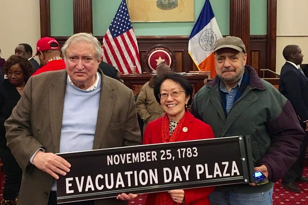 Councilwoman Margaret Chin (center) poses with James Kaplan (left) and Arthur Piccolo, members of a historical group that have long pushed for the co-naming.