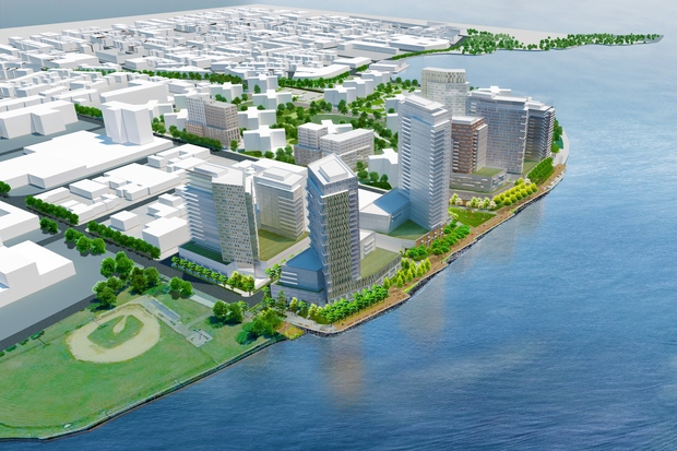 A rendering of the future development planned for Hallets Point, which would include 2,000 apartments — 483 of them affordable — along with a supermarket, school and waterfront esplanade to rise over the next seven years.