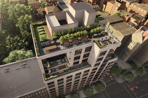 A rendering of the rooftop of Baltic, an 11-story condo building opening at 613 Baltic St., on Fourth Avenue, in Park Slope.