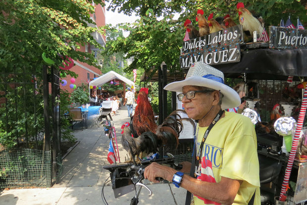 Luis Cajigas, 85, lives for parades, music, friends and entertaining passerby by riding a bike covered in roosters.