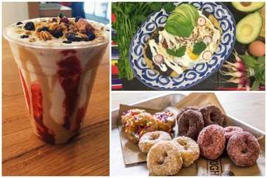 The brunch offerings will include Chelsea Creamline's peanut butter and jelly shake, left, Bodega Negra's huevos rancheros, top right, and an array of options from Chelsea Market's Doughnuttery, bottom right.