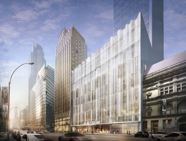 "Nordstrom's new flagship store near Columbus Circle will span four properties and include a seven-level tower enveloped by glass ""waveforms,"" the retailer said."