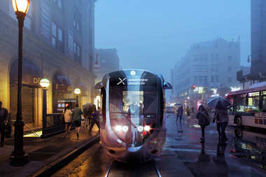 A rendering of the proposed streetcar that would run along the Brooklyn and Queens waterfronts.