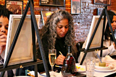 Unleash your inner artist at the Painting & Sipping event at Therapy Wine bar this Valentine's Day.