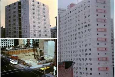 Historical pictures of Turin House at 609 Columbus Ave. from Christine Baronak's archives. The building just after completion (top left), the foundation breaking (bottom left) and the building near completion without some windows and fire escapes.