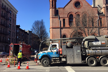 A manhole fire cut off power to nearly 50 buildings and a public school on West 122nd Street in Harlem Tuesday afternoon.