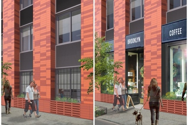 A rendering of an affordable housing project that Marvel Architects is designing for Atlantic Avenue near St. James Place in Clinton Hill shows the first floor under the current zoning regulations (left) with window guards and drawn curtains versus what it would look like under the proposed zoning with encouraging retail.